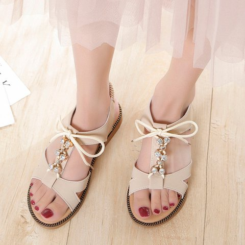 Ankle Strap Sandals Open Toe Lace Up Sandals