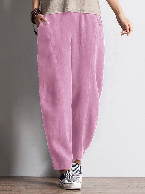 Solid Pockets Elastic Waist Pants