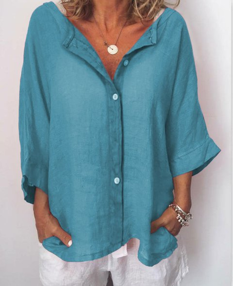 Women Plus Size Buttoned 3/4 Sleeve Casual V Neck Solid Shirts