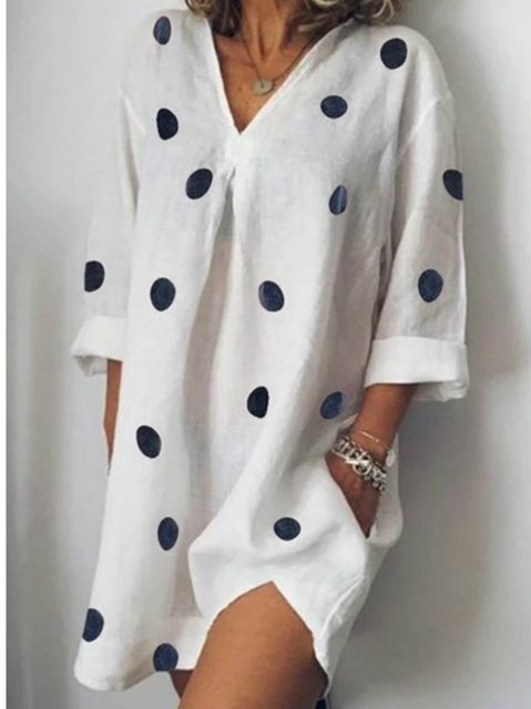 Printed Polka Dots Summer Shift Daytime Casual Dresses