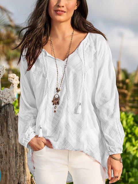 Long Sleeve Floral-Print V Neck Shirts & Tops
