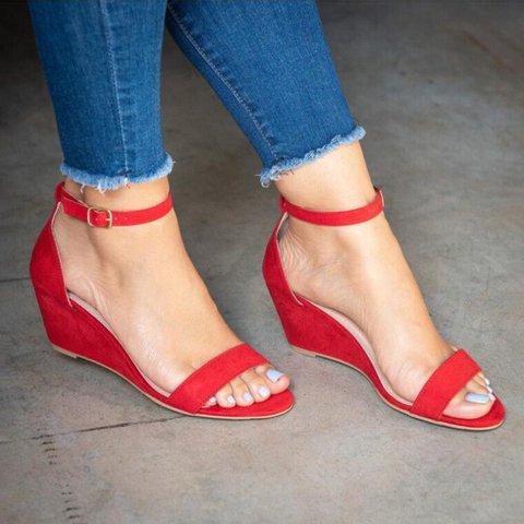 Women Wedge Heel Sandals Casual Buckle Shoes
