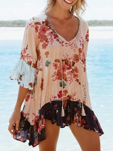 Light Pink Bell Sleeve Holiday Shirts & Tops