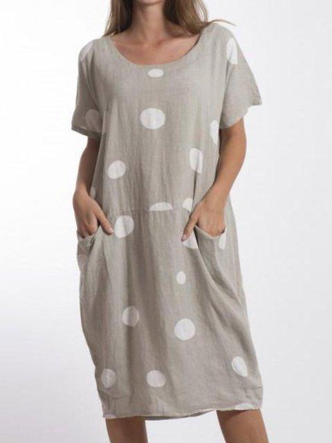 Women Summer Polka Dots Midi Dresses Crew Neck Shift Printed Dresses