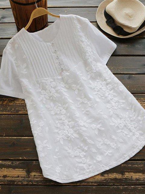 Women Summer Blouses Plain Casual Short Sleeve Cotton Blouses