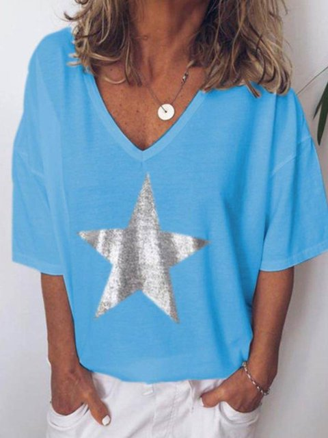 Short Sleeve Casual Star Plus Size T-shirt