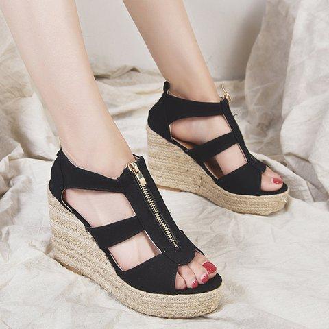 Women Espadrilles Wedges Plus Size Zipper Peep Toe Sandals