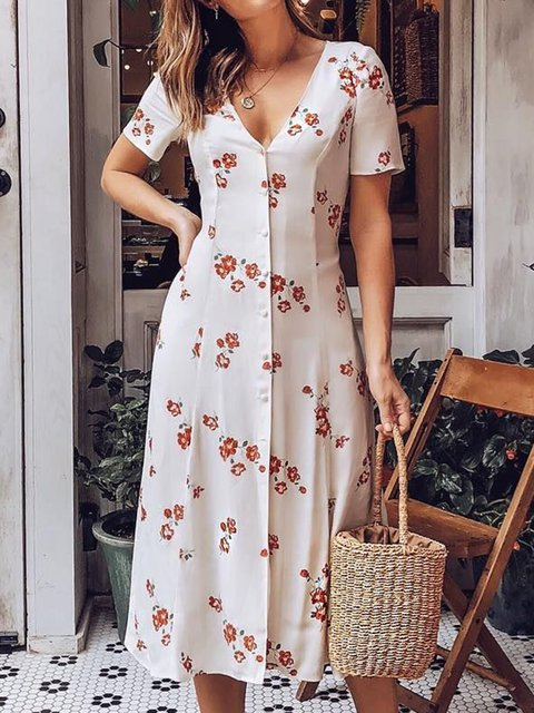 d4d2ebf4743 Summer Dresses Sundress Holiday V Neck Holiday Short Sleeve Floral ...