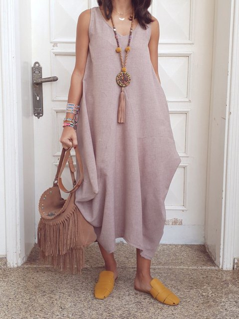 V Neck Women Summer Casual Maxi Dresses