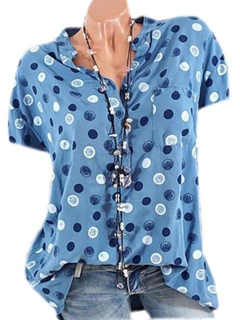 Polka Dots Plus Size Cotton-Blend  Women Summer Blouses