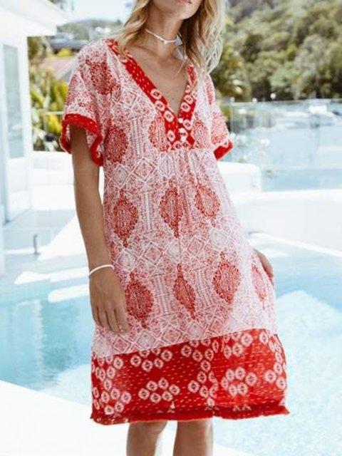 Red Short Sleeve Dresses