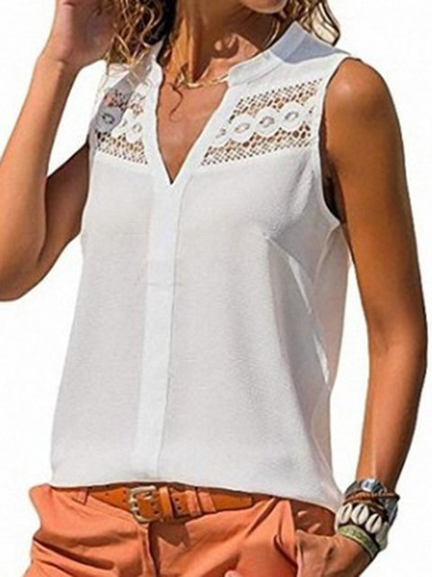 Plus Size Sleeveless Cutout Casual Women Summer Blouses