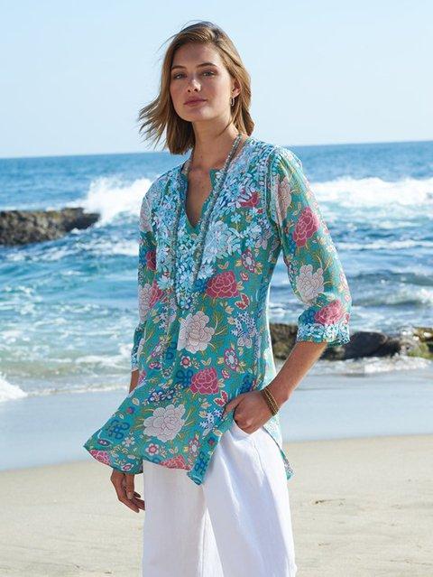 Blue V Neck Patchwork Boho Shirts & Tops