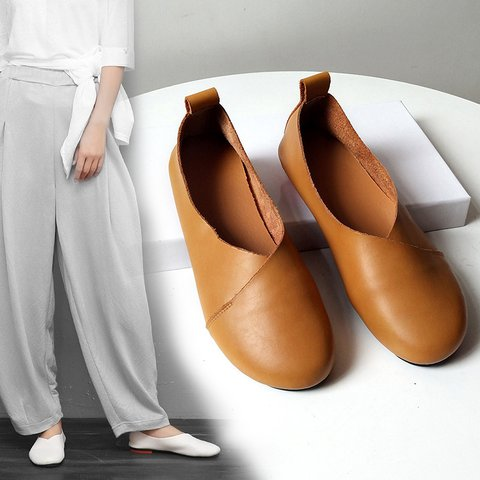 PU Low Heel Loafers Round Toe Womens Dress Shoes Summer Flats