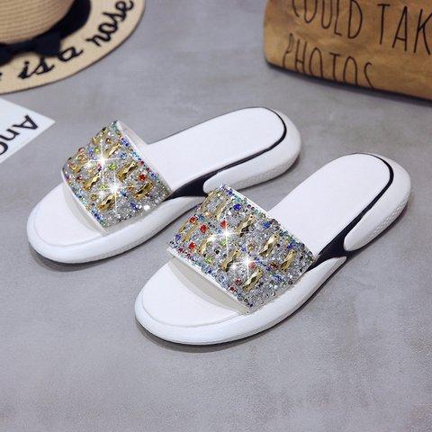 Women Sequin Rhinestone Slide Sandals