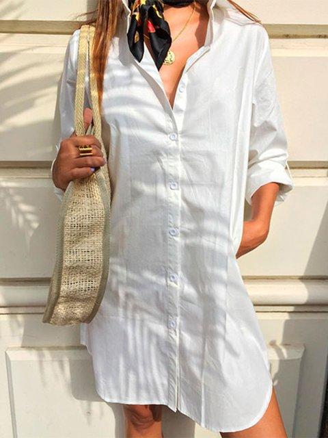 Women Shirts Buttoned Long Sleeves Casual Tops/Shirt Dresses