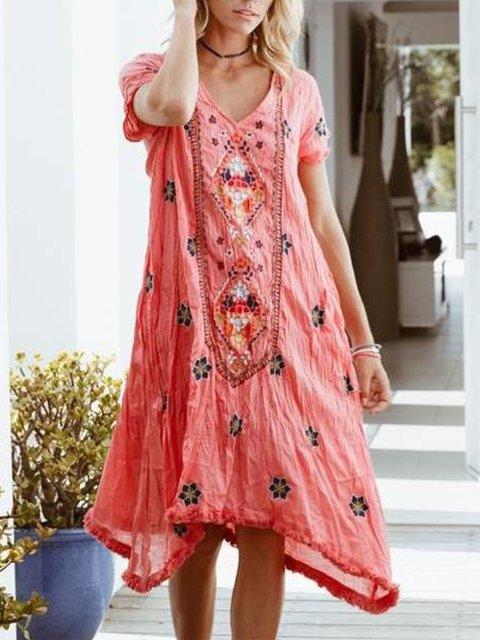 V Neck Floral Short Sleeve Dresses