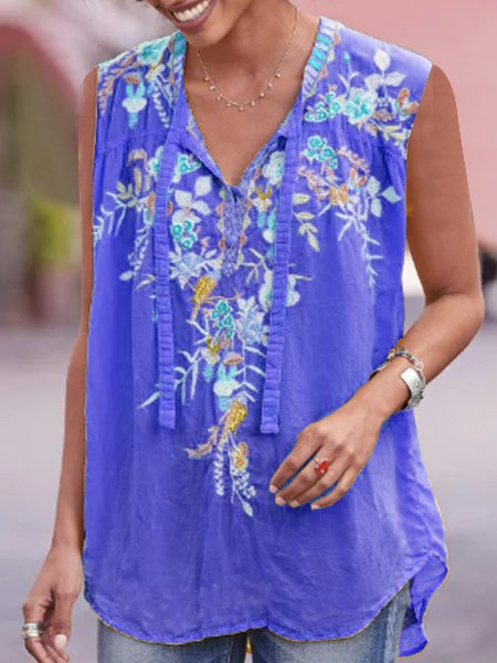 Sleeveless V Neck Boho Shirts Blouses