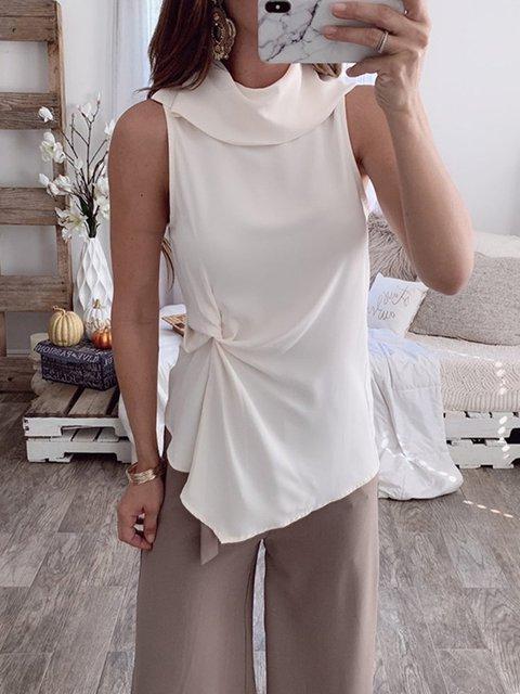 Women's Fashion Solid Color Turtleneck Sleeveless T-shirt