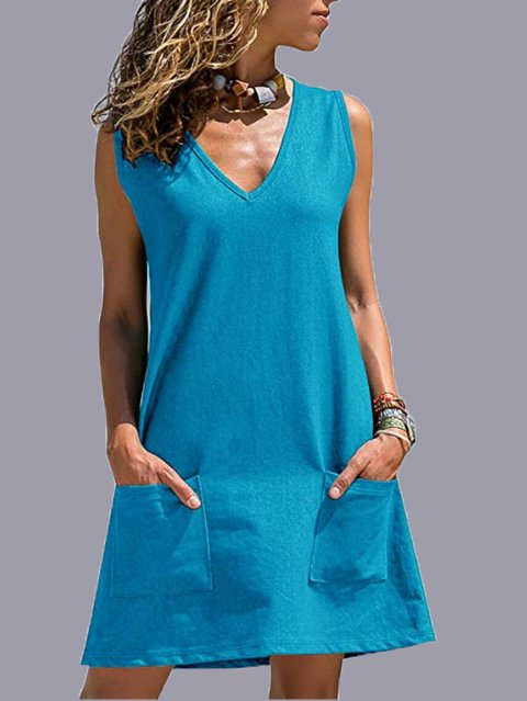 Sleeveless Casual V Neck Cotton-Blend Dresses