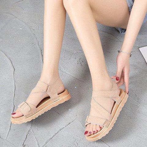 Casual Magic Tape Flat Sandals Women