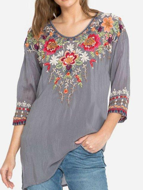 3/4 Sleeve Boho  Round Neck Shirts Blouses