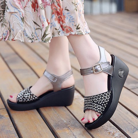 24db7652ac0e Justfashionnow Creepers   Wedges Open Toe Casual Wedge Heel Silver Creepers    Wedges