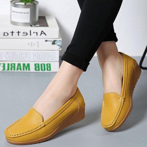 Split Leather Casual Non Slip Flats