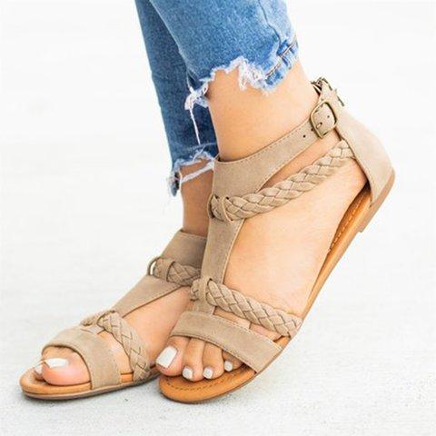 Women Flat Heel Holiday Casual Zipper Sandals