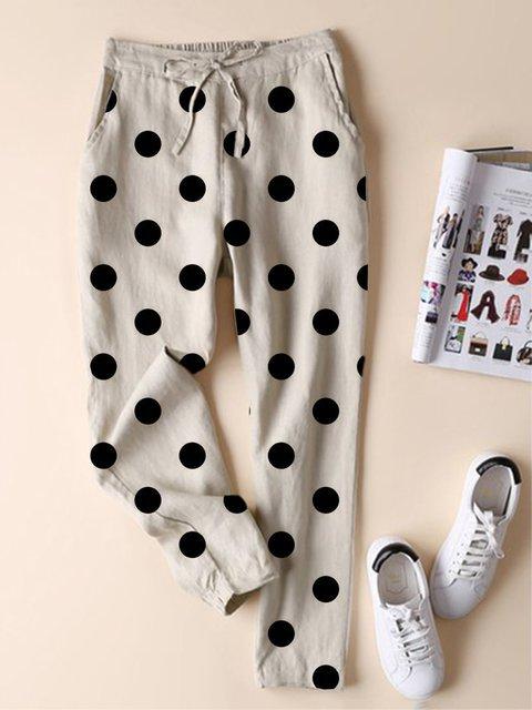Casual Polka Dots Pockets All Season Pants