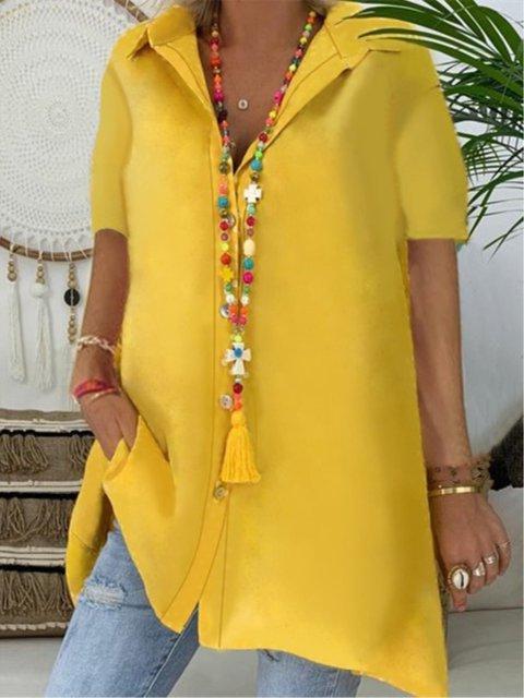 Casual Plain Shirt Collar Buttoned Short Sleeve Blouse
