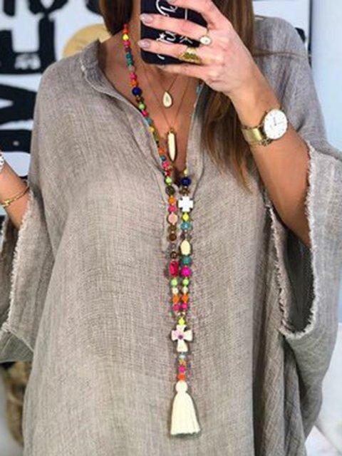 Women Multicolor Cross Boho Long Necklaces