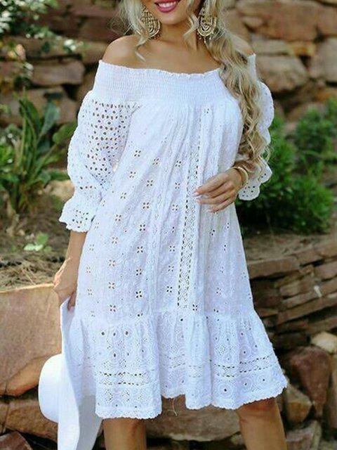 White Long Sleeve Big Hem Dress Dresses