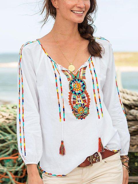 White Boho Printed Cotton-Blend Shirts & Tops