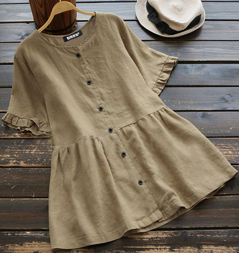 Women Solid O-Neck Short-Sleeved Shirt