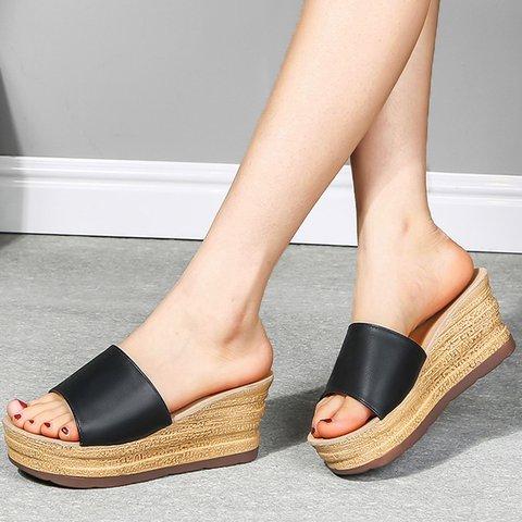 Women Slip-On Open Toe Daily Wedge Sandals
