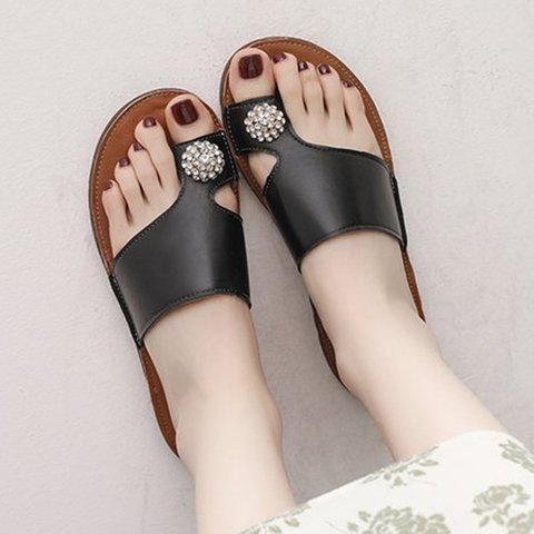 Rhinestone Casual Flat Slippers Women