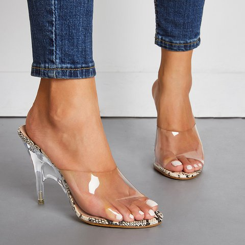 Transparent Single Strap Slip-On Thin Heeled Sandals