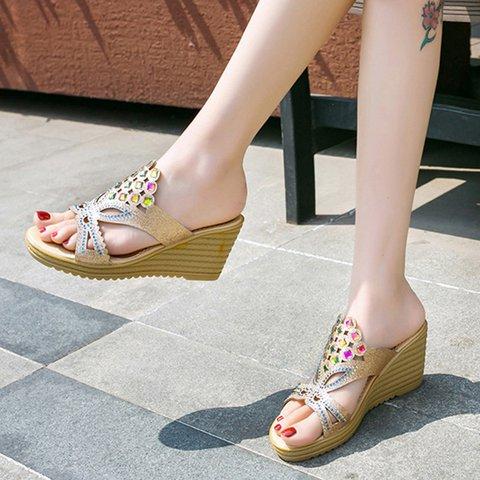 Rhinestone Casual Wedge Sandals Women