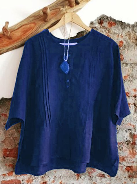 Round Neck Half Sleeve Shirts Blouses