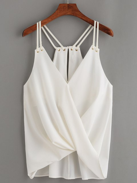 White Sexy Sling T-Shirt Sleeveless New Irregular Tops