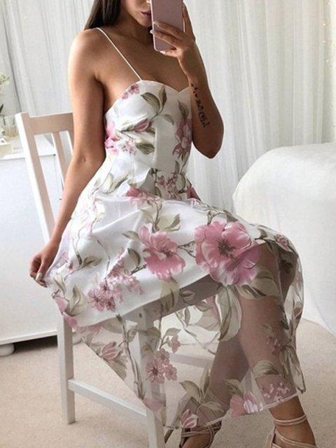 Women's Strapless Fashion Printed Dresses Beach Casual Sling Dresses