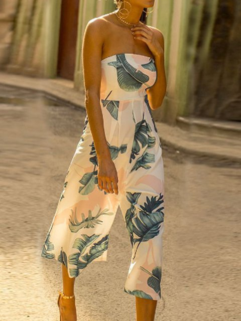 Leaf Printed White Holiday Off Shoulder Jumpsuits