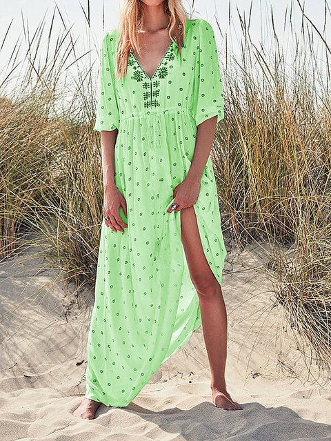 Boho Summer Holiday V Neck Maxi Dresses