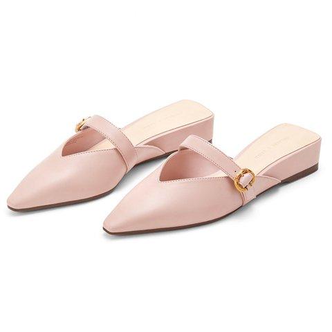 Genuine Leather Spring Flat Heel Date Mule Shoes