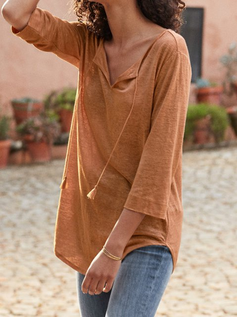 Solid color casual cotton t-shirt