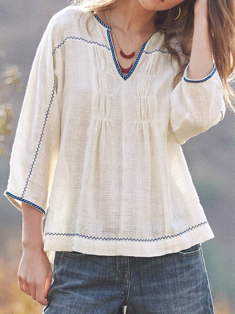 Striped linen long-sleeved top