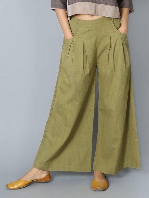 Women Pants Pockets Pleated Details Casual Wide Leg Pants