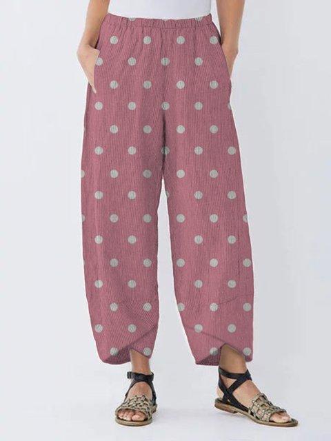 Casual Polka Dots Women Pockets All Season Pants