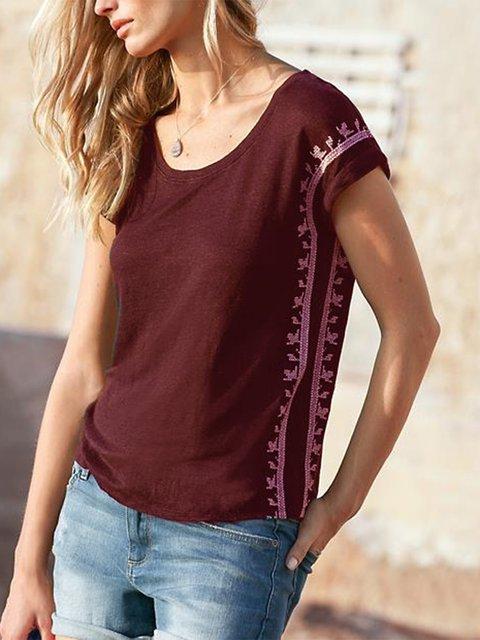 Casual Short Sleeve Round Neck Shirts